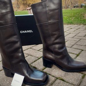 CHANEL Heel Boots Square Toe Brown 40